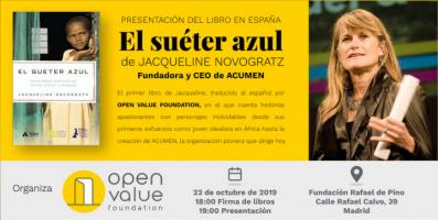 Jacqueline Novogratz, CEO de Acumen, presenta su libro El Suéter Azul